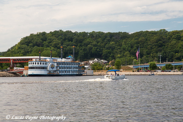 Lady Luck Casino and boaters on the Mississippi River in Marquette, Iowa<br /> <br /> July 07, 2012
