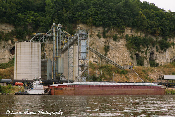 Barge docked at the Consolidated Grain and Barge terminal on the Mississippi River in Clayton, Iowa<br /> <br /> July 07, 2012