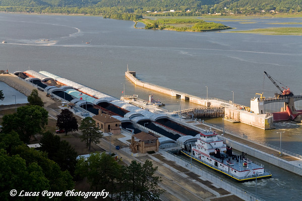 The Mississippi River and a Barge at Lock & Dam #11 from Eagle Point Park in Dubuque, Iowa.<br /> August 31, 2008