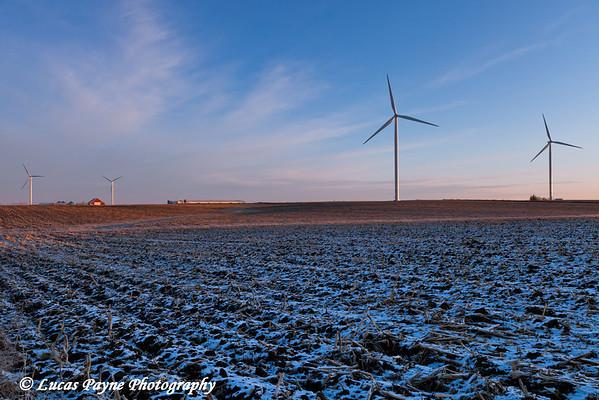 Elk Wind Energy Farm near Edgewood in Eastern Iowa.<br /> December 23, 2011