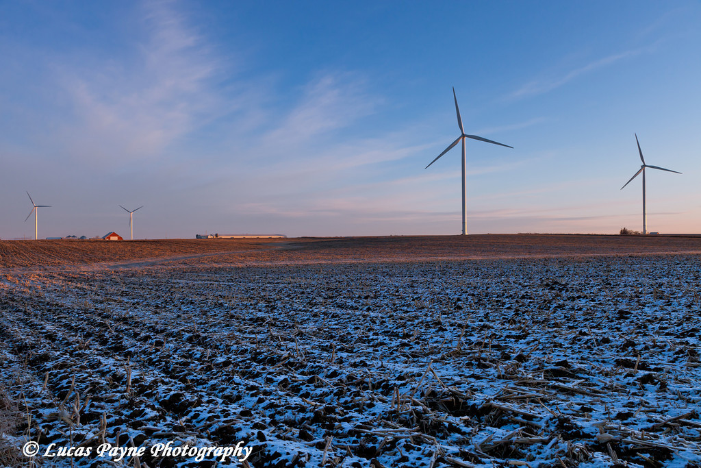 Elk Wind Energy Farm near Edgewood in Eastern Iowa.<br /> December 23, 2011