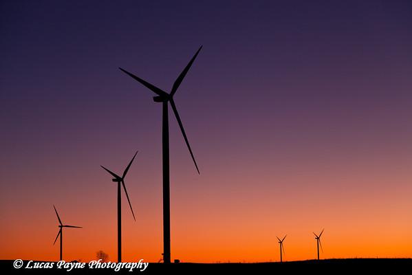 Elk Wind Energy Farm at sunrise near Edgewood in Eastern Iowa.<br /> December 24, 2011