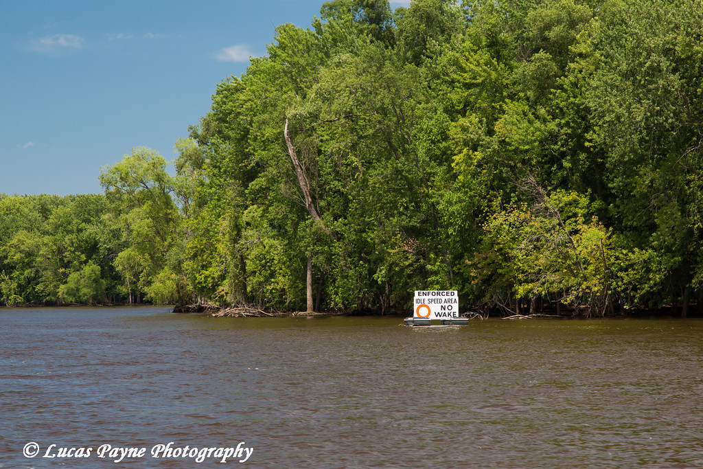 A No Wake sign on the Mississippi River near McGregor in Northeast Iowa<br /> <br /> July 07, 2012