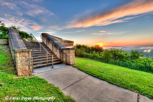 Stairway leading to the viewing platform overlooking the Mississippi River at Pikes Peak State Park in Northeast Iowa.<br /> July 05, 2011<br /> HDR