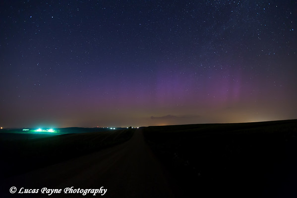 Faint glow of the Aurora Borealis (Northern Lights) low on the horizon from Highway 3 near Colesburg, Iowa<br /> <br /> July 14, 2012