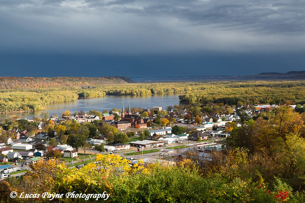 Scenic view overlooking Guttenberg, Iowa and the Mississippi River.<br /> <br /> October 23, 2017