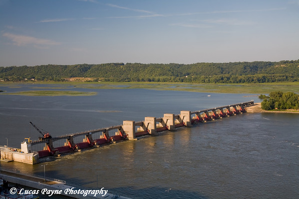 The Mississippi River and Lock & Dam #11 from Eagle Point Park in Dubuque, Iowa.<br /> August 31, 2008