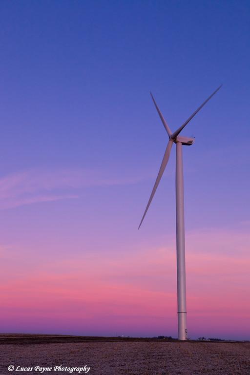 Wind turbine at the Elk Wind Energy Farm at sunrise near Edgewood in Eastern Iowa<br /> December 26, 2011