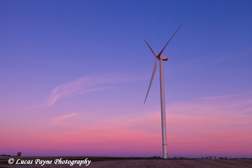 Wind turbine at the Elk Wind Energy Farm at sunrise near Edgewood in Eastern Iowa<br /> December 26, 2011