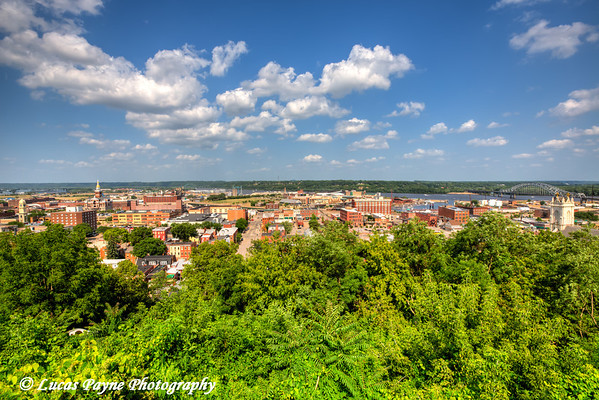 Scenic view of Downtown Dubuque and the Mississippi River from the Fenelon Place Elevator, Northeast Iowa<br /> <br /> July 03, 2012