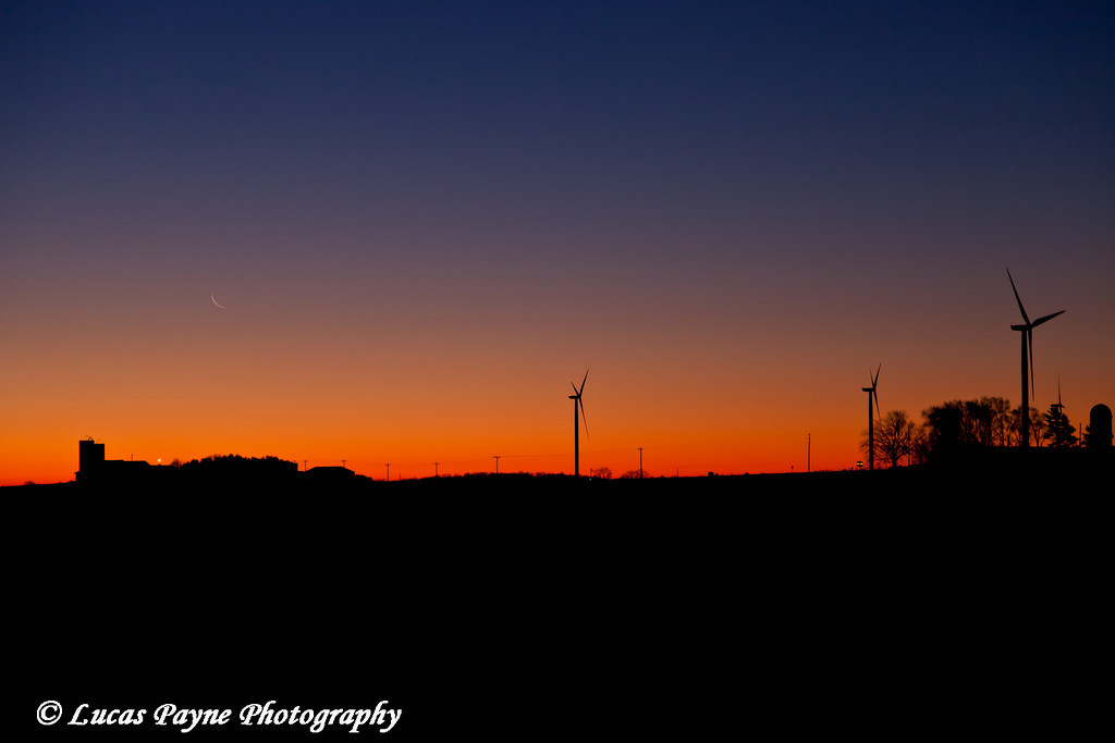 Elk Wind Energy Farm at sunrise near Edgewood in Eastern Iowa.<br /> December 23, 2011
