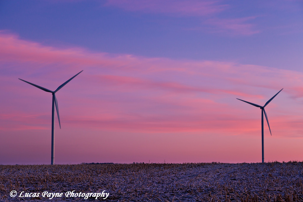 Wind turbines at the Elk Wind Energy Farm at sunrise near Edgewood in Eastern Iowa<br /> December 26, 2011