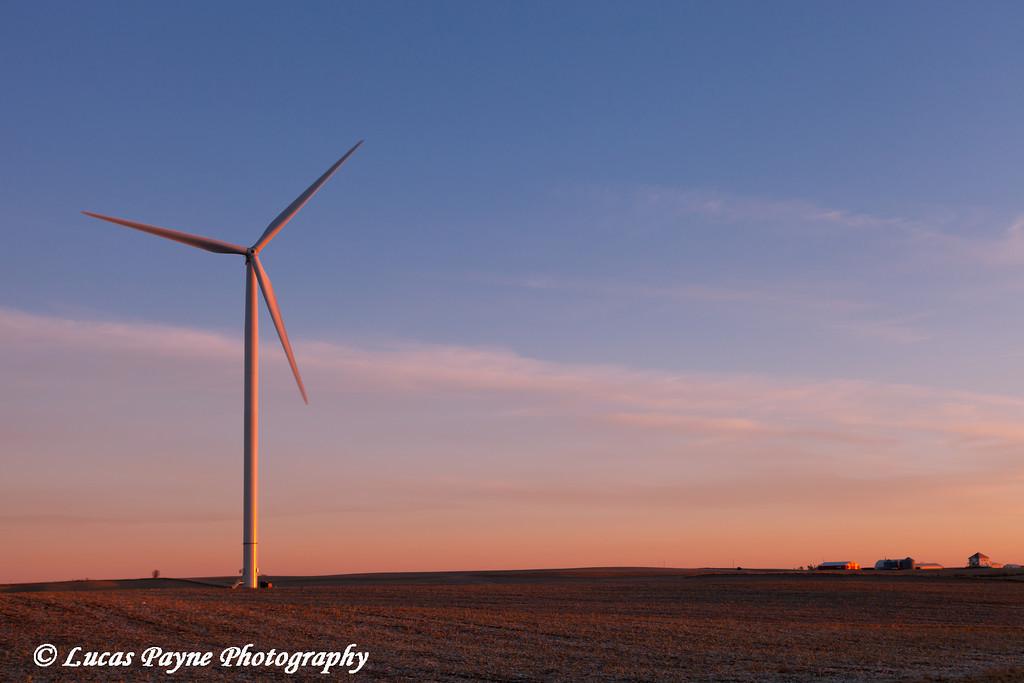Wind turbine at the Elk Wind Energy Farm near Edgewood in Eastern Iowa<br /> December 26, 2011
