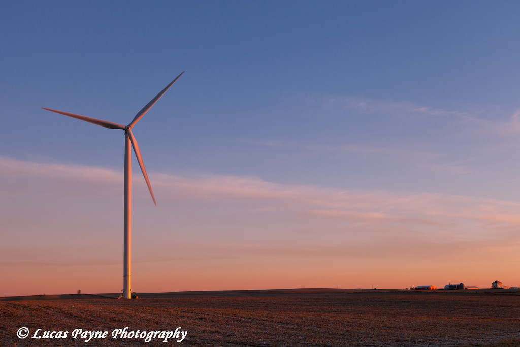 Wind turbine at the Elk Wind Energy Farm near Edgewood in Eastern Iowa<br /> December 26, 2011