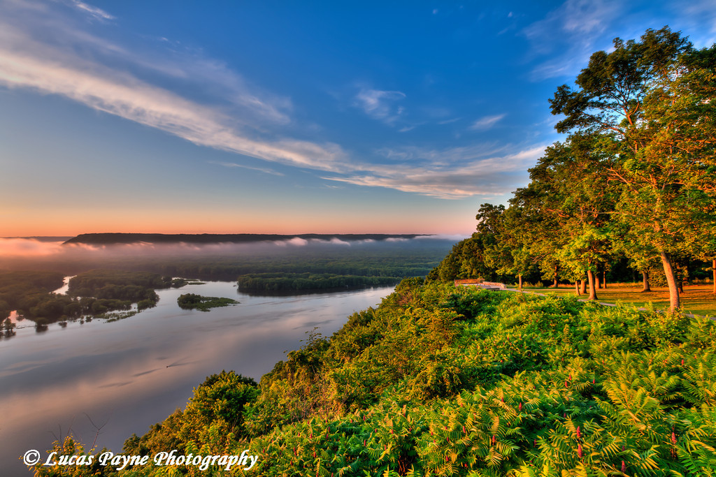 Scenic view of the Mississippi River at sunrise from the viewing platform at Pikes Peak State Park in Northeast Iowa.<br /> July 05, 2011<br /> HDR