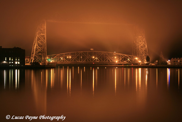 The Aerial Lift Bridge on a foggy August night in Duluth, Minnesota.