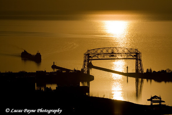 Sunrise over the Aerial Lift Bridge in Duluth, Minnesota from Enger Park<br /> April 16, 2008