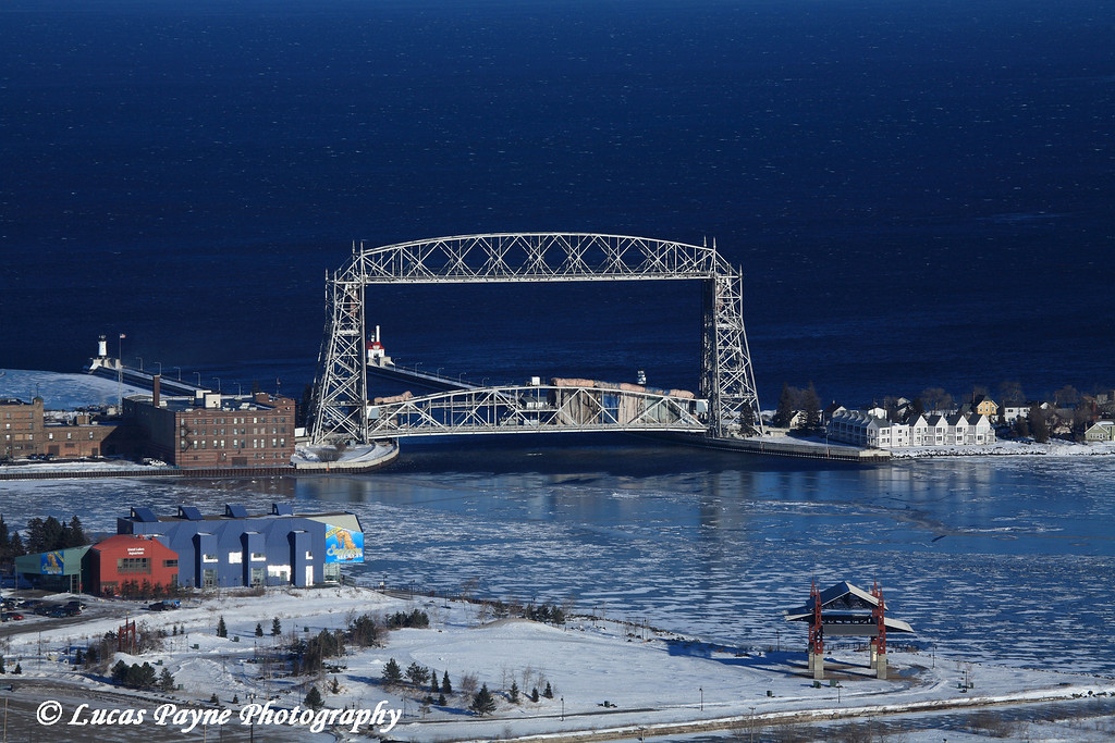 Aerial Lift Bridge from the Skyline Parkway in Duluth.