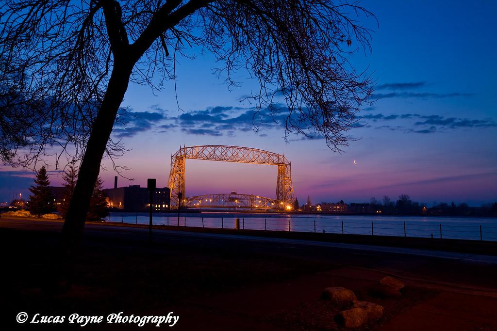Aerial Lift Bridge just before sunrise in Duluth, Minnesota.