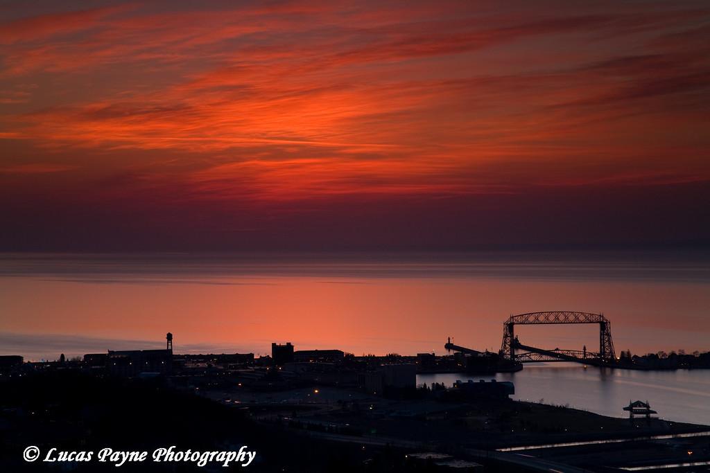 Sunrise over Duluth, Minnesota from Enger Park<br /> April 16, 2008