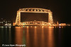 The Aerial Lift Bridge at night from the harbor in Duluth, MN.