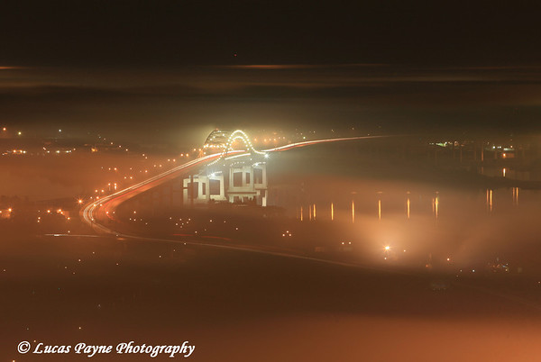The Blatnik Bridge connecting Duluth, MN and Superior, WI on a foggy August night.