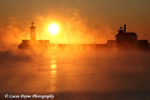 Steamy Winter Sunrise On Lake Superior at Canal Park In Duluth, Minnesota at -20°F