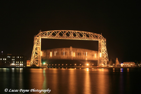 The Aerial Lift Bridge raising in Duluth, MN.