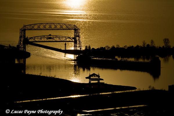 Sunrise over the Aerial Lift Bridge in Duluth, Minnesota from Enger Park<br /> April 16, 2008