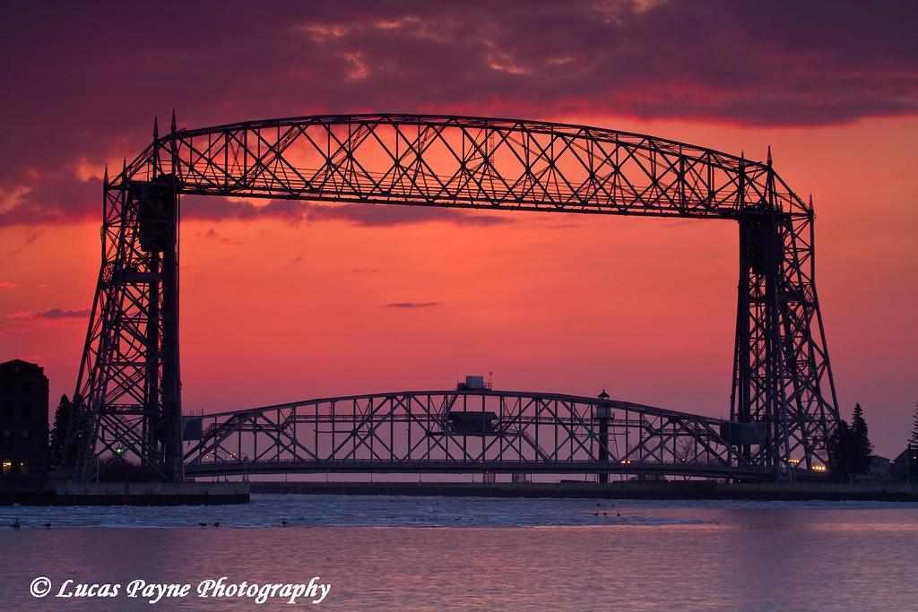 Aerial Lift Bridge Sunrise <br /> Duluth, Minnesota