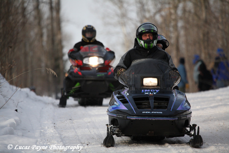 Snowmobilers on the North Shore trail in Minnesota.