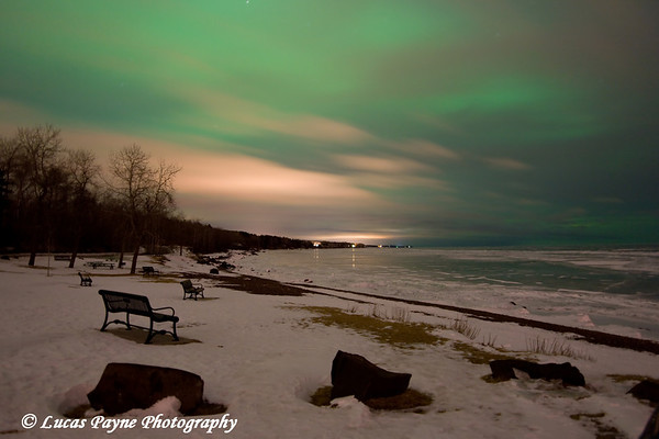 The Aurora Borealis over Lake Superior photographed at Kitchi Gammi Park just outside Duluth, MN