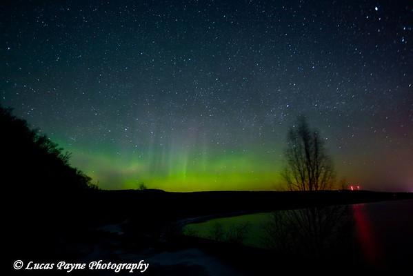 The Aurora Borealis along Minnesota's North Shore of Lake Superior near Grand Marais.