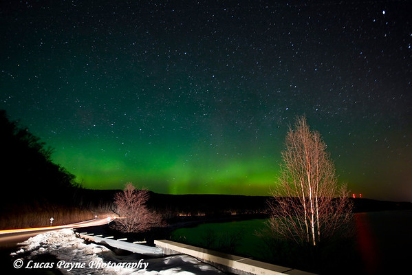 The Aurora Borealis along Minnesota's North Shore of Lake Superior near Grand Marais.