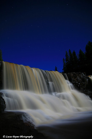 Moonlight At Middle Falls-<br /> Gooseberry Falls State Park Minnesota