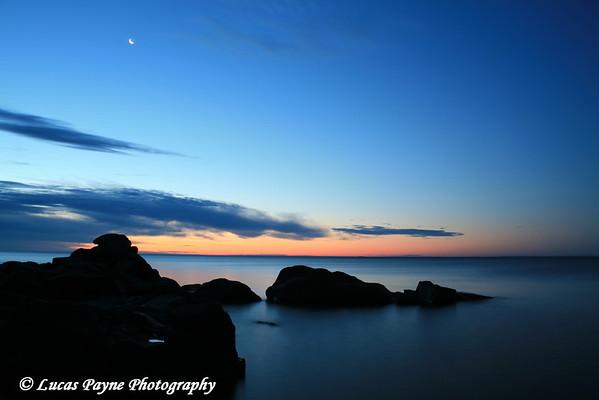 Lake Superior morning twilight near Duluth, Minnesota