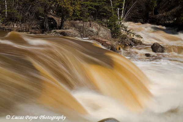 Spring at Beaver Bay Falls in Beaver Bay, Minnesota. <br /> April 23, 2008