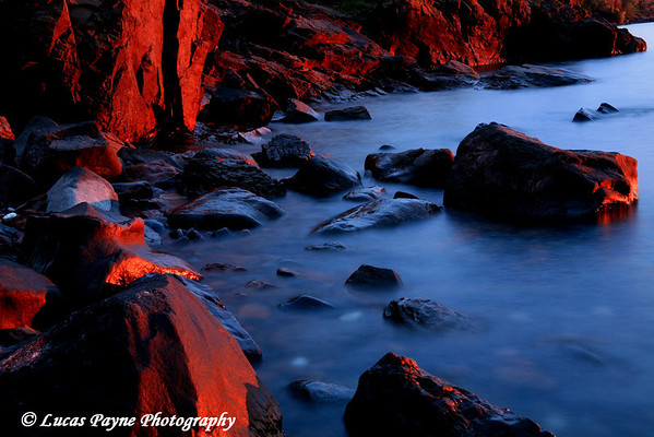 Early Morning Sunlight Painting The Lake Superior Shoreline near Duluth, Minnesota.