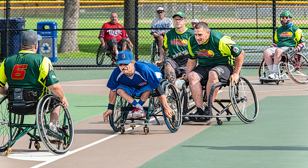 "Wheelchair Softball Player ""Rundown"" between Home and Third"