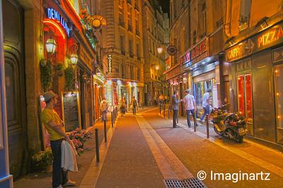 Evening Lights on Rue Saint-Séverin, Paris