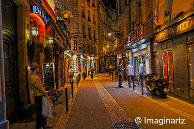 Evening Lights on Rue Saint-Séverin, Paris