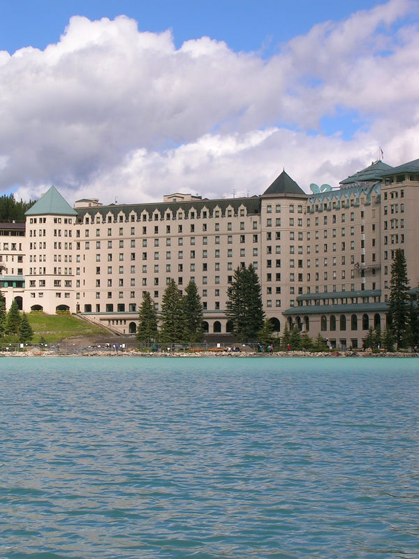 The old, overpriced, overrated Fairmont Lake Louise Hotel.