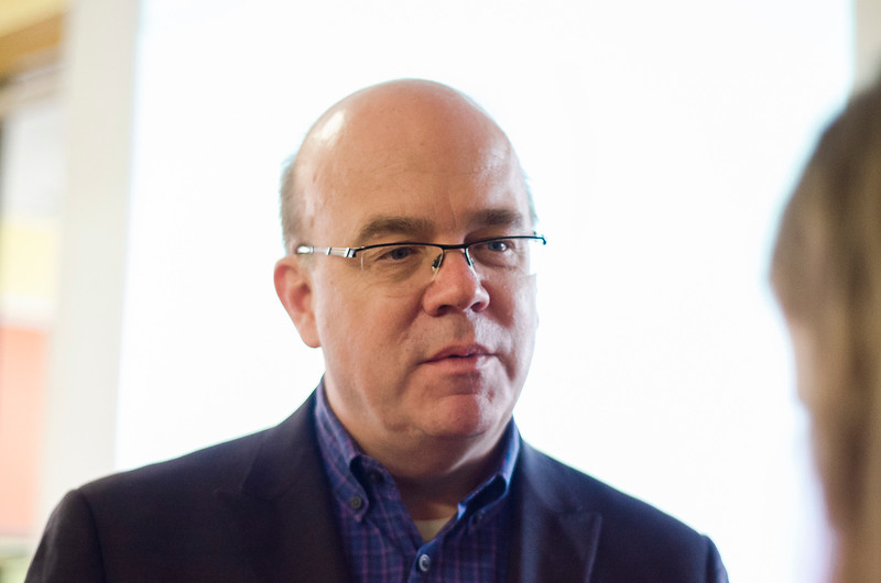 Congressman Jim McGovern speaks ahead of the immigrant information session at First Church Unitarian Universalist on Saturday, February 25, 2017. SENTINEL & ENTERPRISE / Ashley Green
