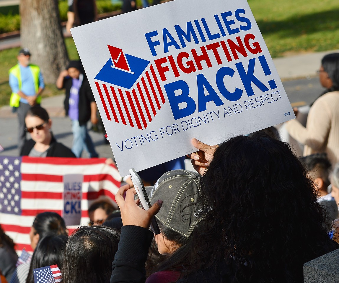 """Woman hold sign """"Families Fighting Back"""" at immigrant rights rally."""