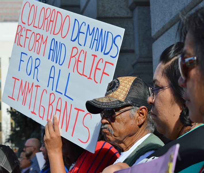 Demonstrators at immigrant rights rally.