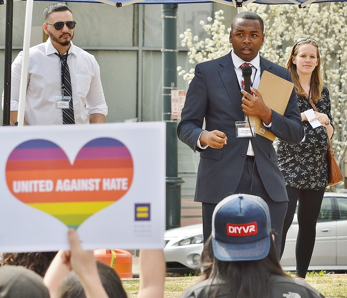 Tay Anderson, Chair of Colorado High School Democrats, speaking at a rally for immigrant rights in Denver.
