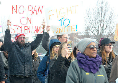 Lisa Yanick-Jonaitis - Morning Sun  Hundreds of people march on Central Michigan University's campus Monday, Jan. 31, 2017 in protest of the immigration ban.