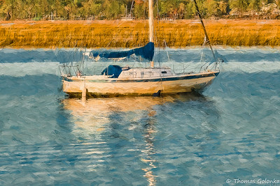 Boat With Marsh Grass