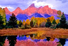 Tetons in autumn sunrise from Schwabachers landing #2