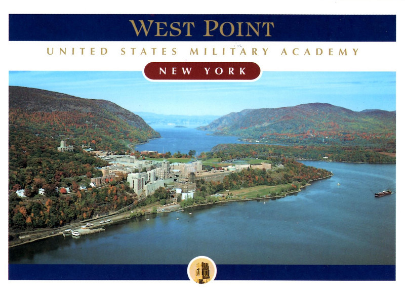 Postcard view of West Point. Fort Arnold was situated at the extreme right end of the grassy parade ground in this photograph.